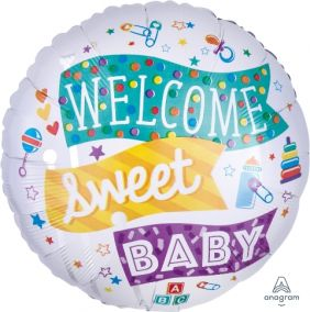 "18"" RND WELCOME SWEET BABY FLAGS (PK)"