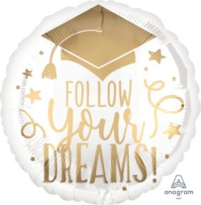 "18"" RND FOLLOW YOUR DREAMS WHITE & GOLD (PK)"