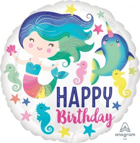 "18"" RND MERMAID COLORFUL OCEAN FUN HBIRTHDAY (PK)"