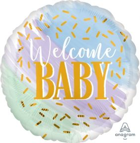 "18"" RND WATERCOLOR WELCOME BABY (PK)"