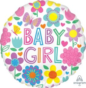 """17"""" RND BABY GIRL FLORAL BUTTERFLY (PK)"""
