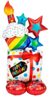 """28""""X55"""" AIRLOONZ STACKED BIRTHDAY ICONS (PK)"""