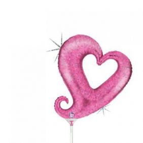 "14"" CHAIN OF HEARTS PINK HLG FOIL"