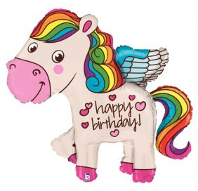 "45"" RAINBOW BDAY PONY (PK)"