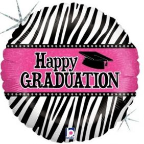 "18"" RND GRADUATION ZEBRA STRIPES FOIL"