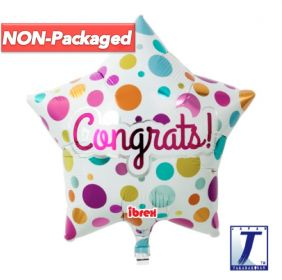 "15"" STAR CONGRATS DOTS ON WHITE FOIL"