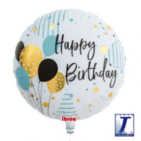 "14"" RND HAPPY BDAY BALLOONS FOIL"