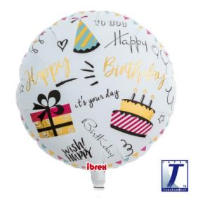 "14"" RND HAPPY BDAY PARTY FOIL"