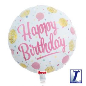 "14"" RND HAPPY BDAY GOLD & PINK DOTS FOIL"