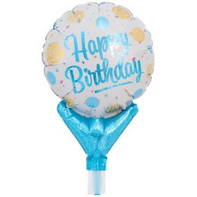 "05"" UPRIGHT HAPPY BIRTHDAY GOLD & LBLUE DOTS"