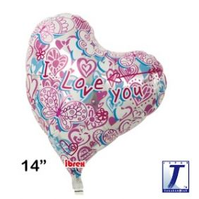 "14"" HRT SWEET HEART I LOVE YOU HEARTS & BUTTERFLY FOIL"