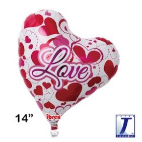 "14"" HRT SWEET HEART LOVE HEARTS FOIL"