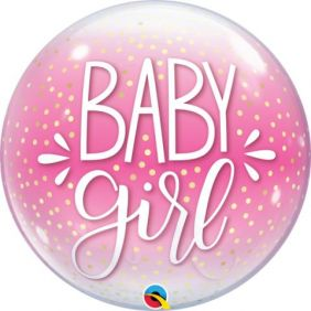 "22"" BABY GIRL PINK & CONFETTI DOTS PK"