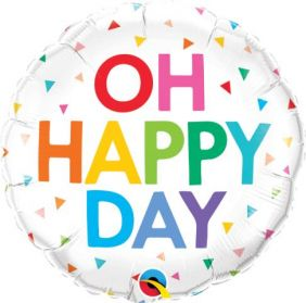 "18"" RND OH HAPPY DAY RAINBOW CONFETTI(PK)"