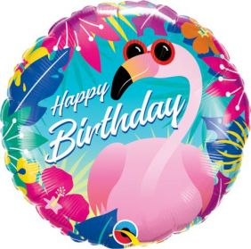 "18"" RND BIRTHDAY TROPICAL FLAMINGO (PK)"