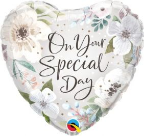 """18"""" HRT SPECIAL DAY WHITE FLORAL (PK)"""