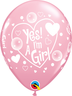 "11"" RND YES! I'M A GIRL PINK 50CT"