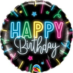 "18"" RND HAPPY BIRTHDAY NEON GLOW (PK)"