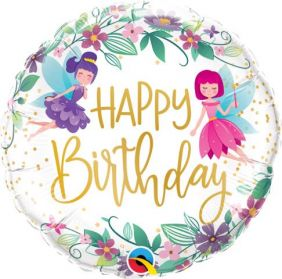 "18"" RND BIRTHDAY WILD FLOWER FAIRIES (PK)"
