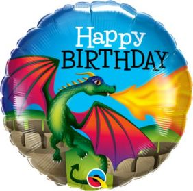 "18"" RND BIRTHDAY MYTHICAL DRAGON (PK)"