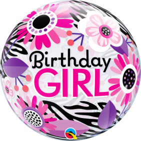 "22"" BDAY GIRL FLORAL ZEBRA STRIPES (PK)"