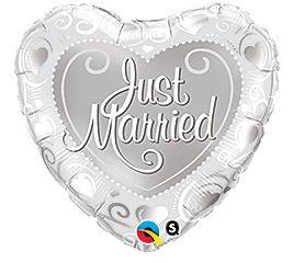 """18"""" HRT JUST MARRIED HRTS SILVER (PK)"""