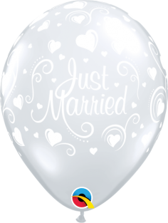 """11"""" RND JUST MARRIED HEARTS DC 50CT"""