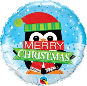 "18"" RND MERRY CHRISTMAS PENGUIN (PK)"