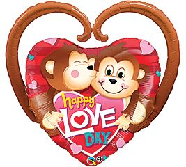 "39"" HAPPY LOVE DAY MONKEYS FOIL"