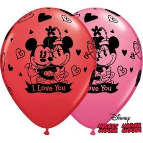 "11"" RND MICKEY&MINNIE I LOVE U 25CT"