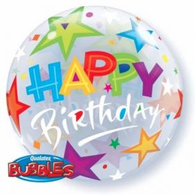 "12"" AIR BUBBLE BIRTHDAY STARS 10CT"