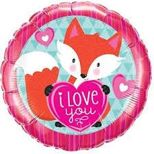 "18"" RND LOVE YOU FOXY HEART (PK)"