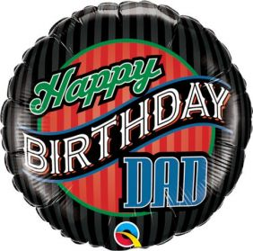 "18"" RND BDAY DAD STRIPES (PK)"