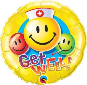 """18"""" RND GET WELL SMILEY FACES (PK)"""
