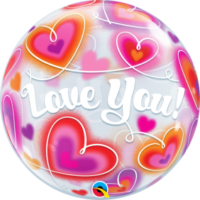 "22"" LOVE YOU DOODLE HEARTS (PK)"