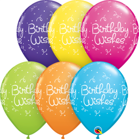 "11"" RND BDAY WISHES DOTS TROP AST 50CT"