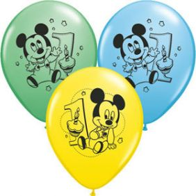 "11"" RND MICKEY 1ST BDAY AST 25CT"