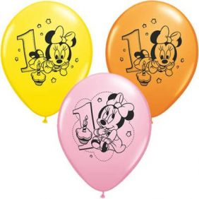 "11"" RND MINNIE 1ST BDAY AST 25CT"