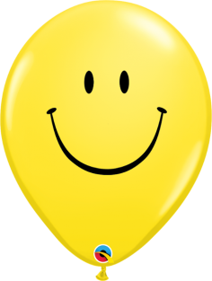 """16"""" RND SMILE FACE YELLOW 50CT"""