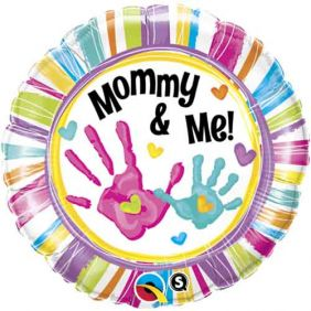 "18"" RND MOMMY & ME HANDPRINTS(PK)"