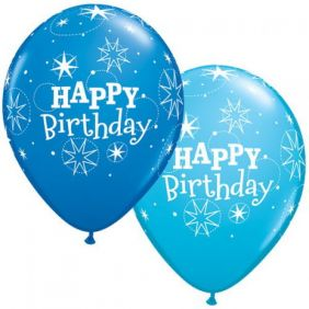 "11"" RND BDAY SPARKLE D.BLUE&R.EBLUE 50CT"