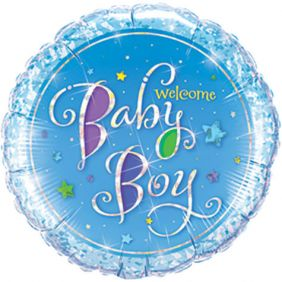 "09"" RND WELCOME BABY BOY STARS HLG FOIL"