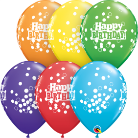 "11"" RND BDAY CONFETTI DOTS RAINBOW 50CT"