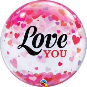 "22"" SB LOVE YOU CONFETTI HEARTS (PK)"