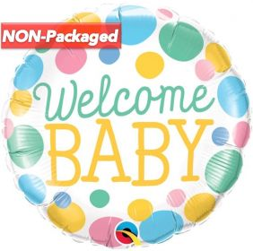 """18"""" RND WELCOME BABY DOTS FLAT FOIL"""