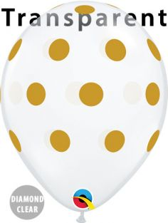 "11"" RND BIG POLKA DOTS(GOLD) DC 50CT"