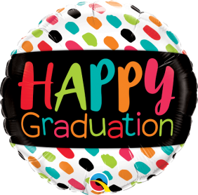 "18"" RND HAPPY GRADUATION COLOR DABS(PK)"