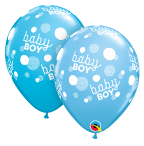 "11"" RND BABY BOY BLUE DOTS-A-RND 50CT"