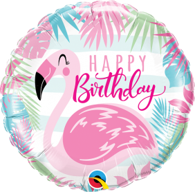 "18"" RND BIRTHDAY PINK FLAMINGO (PK)"