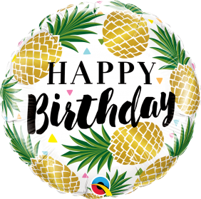 "18"" RND BDAY GOLDEN PINEAPPLES (PK)"